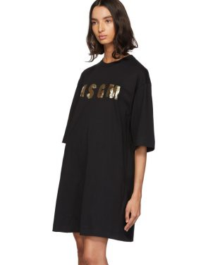 photo Black Sequinned Logo T-Shirt Dress by MSGM - Image 4
