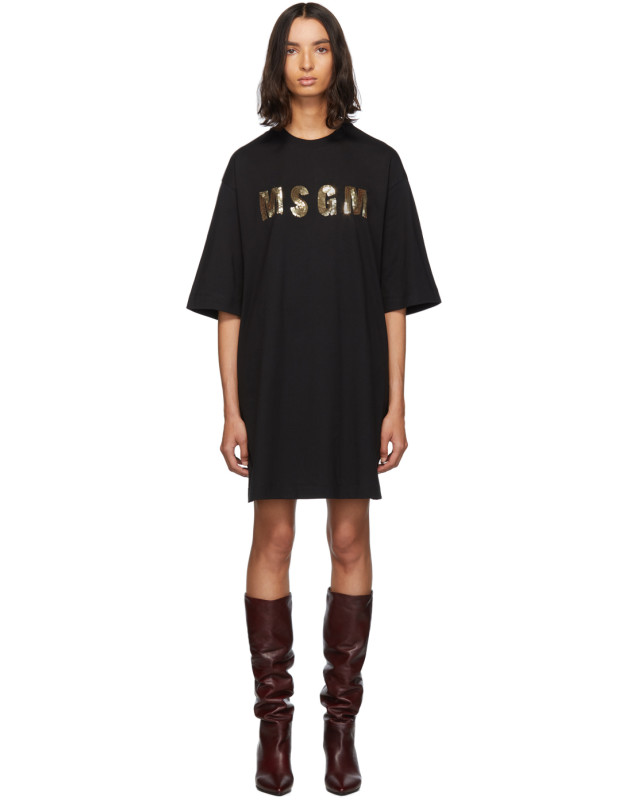 photo Black Sequinned Logo T-Shirt Dress by MSGM - Image 1