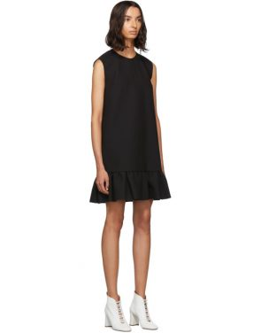 photo Black Double Layer Cady Crepe Dress by MSGM - Image 2