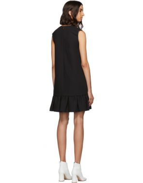 photo Black Double Layer Cady Crepe Dress by MSGM - Image 3