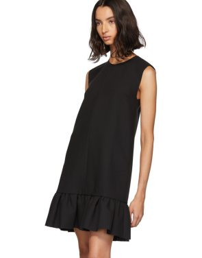 photo Black Double Layer Cady Crepe Dress by MSGM - Image 4