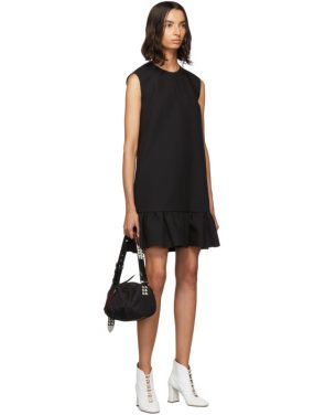 photo Black Double Layer Cady Crepe Dress by MSGM - Image 5