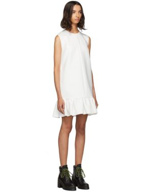 photo White Double Layer Cady Crepe Dress by MSGM - Image 2