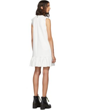 photo White Double Layer Cady Crepe Dress by MSGM - Image 3