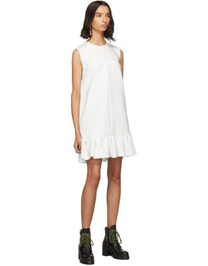 photo White Double Layer Cady Crepe Dress by MSGM - Image 5