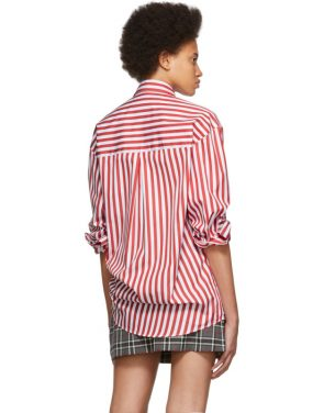 photo Red and White Stripe Shirt Dress by MSGM - Image 3