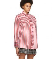 photo Red and White Stripe Shirt Dress by MSGM - Image 4