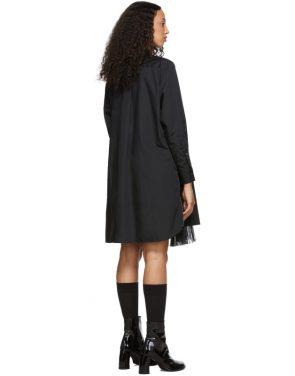photo Black Poplin Zip Dress by Sacai - Image 3