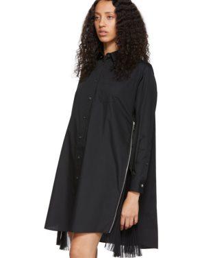photo Black Poplin Zip Dress by Sacai - Image 4