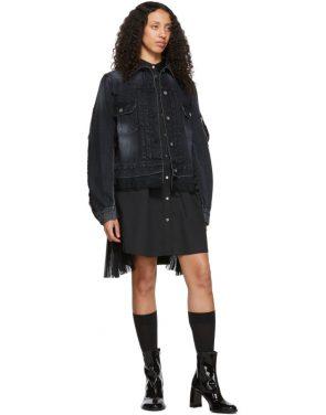 photo Black Poplin Zip Dress by Sacai - Image 5