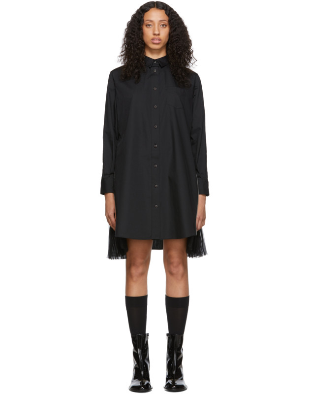 photo Black Poplin Zip Dress by Sacai - Image 1