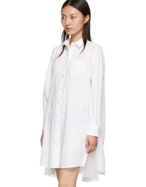 photo White Cotton Poplin Dress by Sacai - Image 4