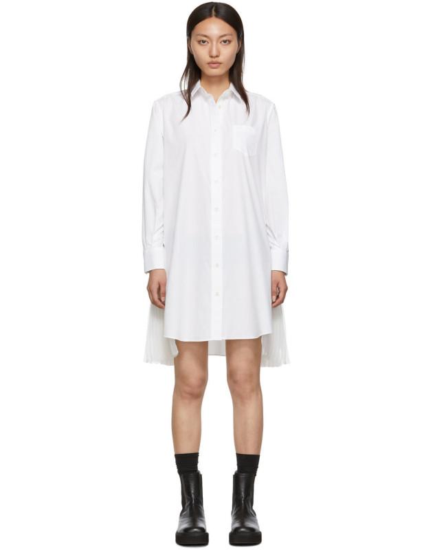 photo White Cotton Poplin Dress by Sacai - Image 1