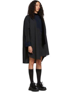 photo Black Tie Collar Shirting Dress by Sacai - Image 2