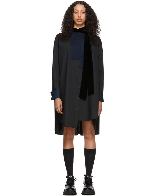 photo Black Tie Collar Shirting Dress by Sacai - Image 1