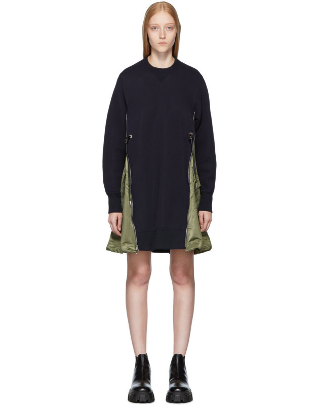 photo Navy Spongy Sweatshirt Dress by Sacai - Image 1