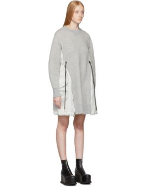 photo Grey Spongy Sweatshirt Dress by Sacai - Image 2