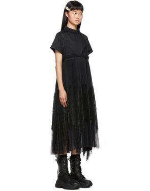 photo Black Lace Shirting Dress by Sacai - Image 2