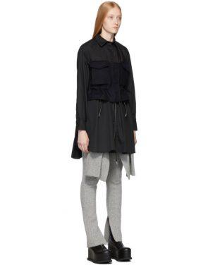 photo Black Poplin Shirt Dress by Sacai - Image 2
