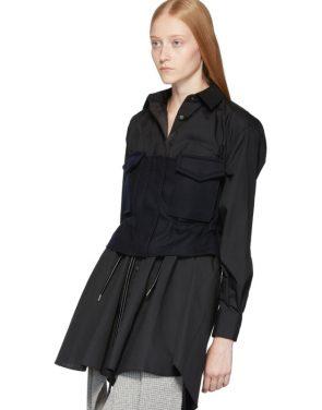 photo Black Poplin Shirt Dress by Sacai - Image 5