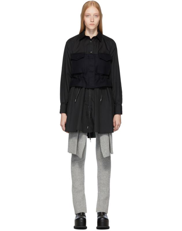 photo Black Poplin Shirt Dress by Sacai - Image 1
