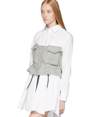 photo White and Grey Poplin Shirt Dress by Sacai - Image 5