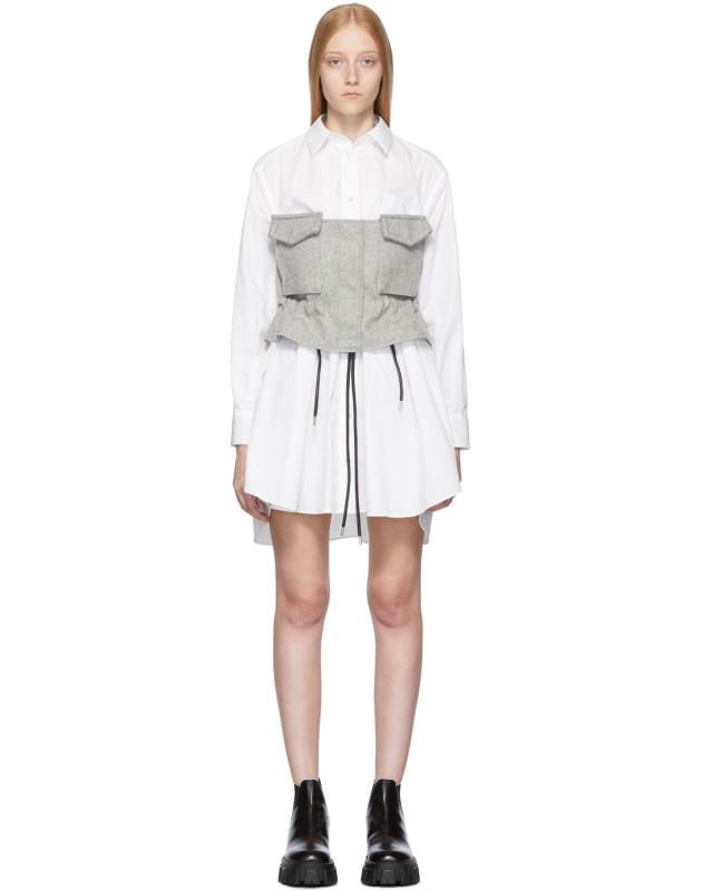 photo White and Grey Poplin Shirt Dress by Sacai - Image 1