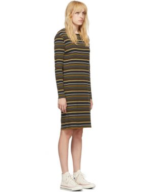 photo Navy and Brown Striped Rib Dress by 6397 - Image 2