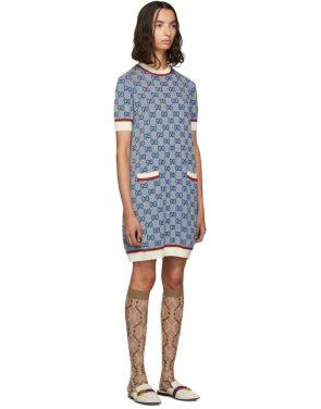 photo Blue Knit GG Dress by Gucci - Image 2