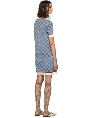 photo Blue Knit GG Dress by Gucci - Image 3