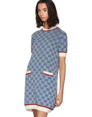 photo Blue Knit GG Dress by Gucci - Image 4