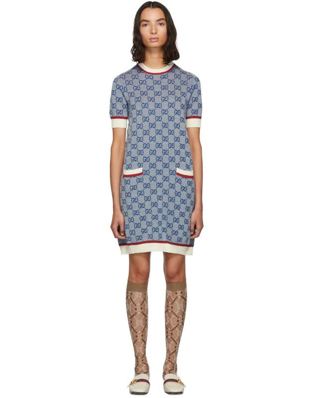 photo Blue Knit GG Dress by Gucci - Image 1