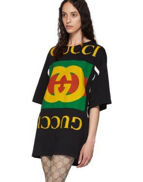 photo Black Oversized T-Shirt Dress by Gucci - Image 4
