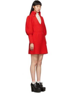 photo Red Knit V-Neck Dress by Gucci - Image 2