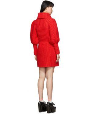 photo Red Knit V-Neck Dress by Gucci - Image 3