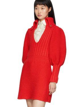 photo Red Knit V-Neck Dress by Gucci - Image 4