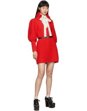 photo Red Knit V-Neck Dress by Gucci - Image 5