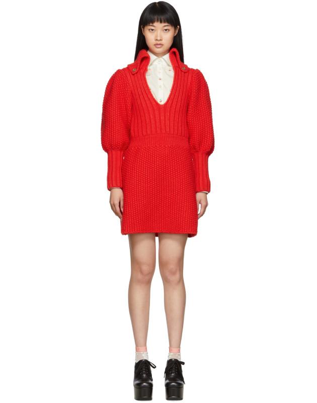 photo Red Knit V-Neck Dress by Gucci - Image 1