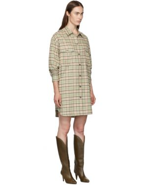 photo Green and Orange Check Iceo Pilou Dress by Isabel Marant Etoile - Image 2