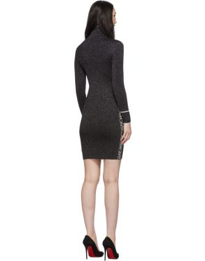 photo Silver and Black Lurex Logo Turtleneck Dress by Off-White - Image 3