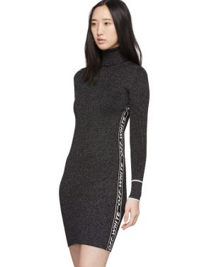 photo Silver and Black Lurex Logo Turtleneck Dress by Off-White - Image 4