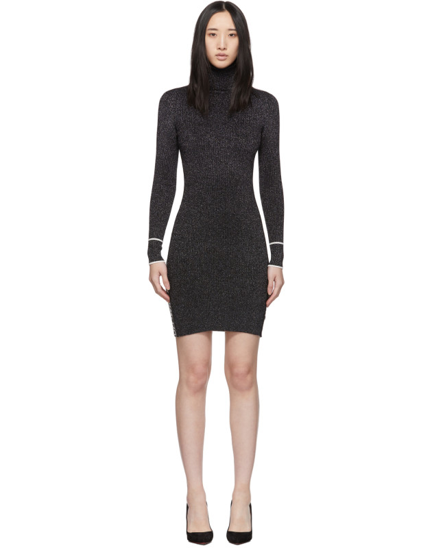 photo Silver and Black Lurex Logo Turtleneck Dress by Off-White - Image 1