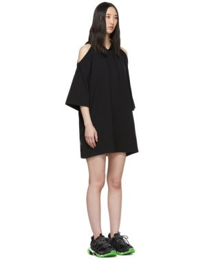 photo Black Open Shoulder Hoodie Dress by VETEMENTS - Image 2