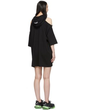 photo Black Open Shoulder Hoodie Dress by VETEMENTS - Image 3