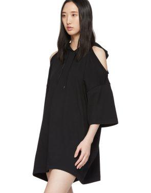 photo Black Open Shoulder Hoodie Dress by VETEMENTS - Image 4