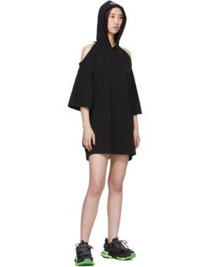 photo Black Open Shoulder Hoodie Dress by VETEMENTS - Image 5