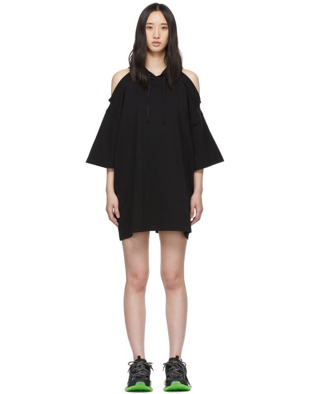 photo Black Open Shoulder Hoodie Dress by VETEMENTS - Image 1
