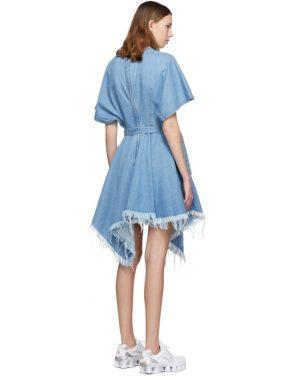 photo Blue Denim Asymmetric Dress by Marques Almeida - Image 3