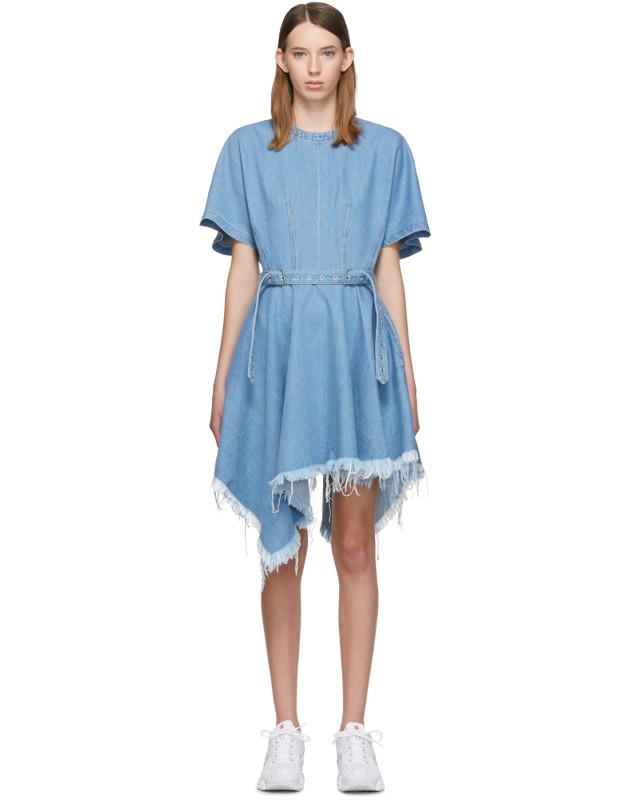 photo Blue Denim Asymmetric Dress by Marques Almeida - Image 1