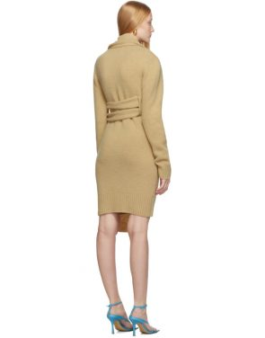 photo Beige Brushed Wool Dress by Bottega Veneta - Image 3